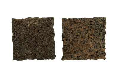 Lot 17 - TWO TEXTILE PRINTING COPPER AND BRASS BLOCKS
