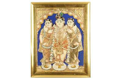 Lot 230 - LORD KRISHNA FLANKED BY HIS WIVES