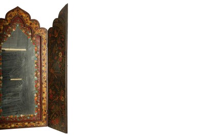 Lot 144 - A PAINTED AND LACQUERED WALL MIRROR