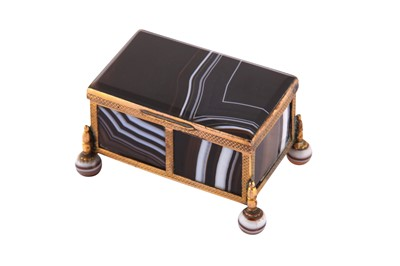 Lot 65 - A late 19th century / early 20th century gilt copper mounted banded agate small casket