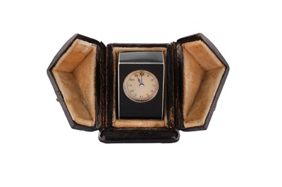 Lot 55 - A cased early 20th century French silver gilt and enamel timepiece, Paris circa 1920, makers mark obscured