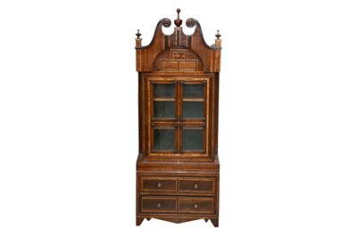 Lot 3 - A DUTCH WALNUT AND INLAID APPRENTICE PIECE STYLE BOOKCASE
