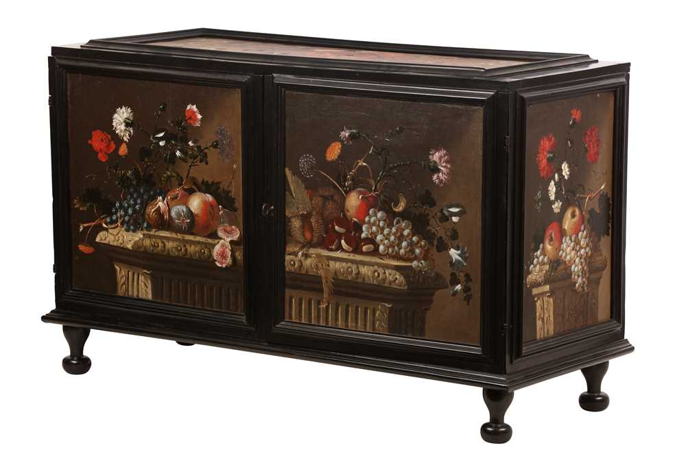 Lot 116 - A NORTH EUROPEAN PAINTED AND EBONISED TABLE CABINET, THIRD QUARTER 17TH CENTURY
