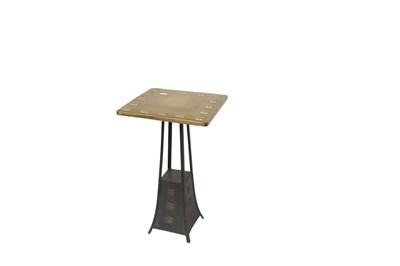 Lot 41 - AUSTRIA, A JUGENDSTIL GILT AND PATINATED-METAL SQUARE SIDE TABLE GILT AND PATINATED-METAL SQUARE SIDE TABLE