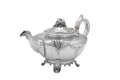 Lot 488 - A William IV sterling silver teapot, London 1837 by Joseph Angell Snr & John Angell