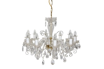 Lot 16 - A TEN LIGHT VENETIAN STYLE GLASS CHANDELIER, CONTEMPORARY