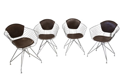 Lot 47 - MANNER OF CHARLES & RAY EAMES, A SET OF FOUR CHROMED WIREWORK TUB CHAIRS, 21ST CENTURY