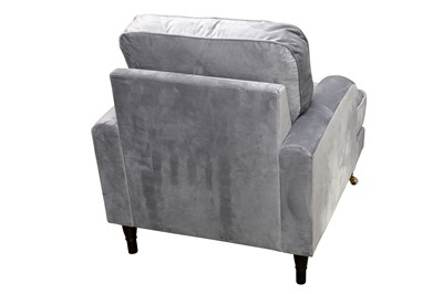Lot 15 - A CONTEMPORARY ARMCHAIR UPHOLSTERED IN GREY SUEDE STYLE FABRIC, 21ST CENTURY