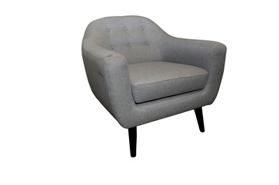 Lot 13 - A CONTEMPORARY ARMCHAIR UPHOLSTERED IN GREY FABRIC, 21ST CENTURY