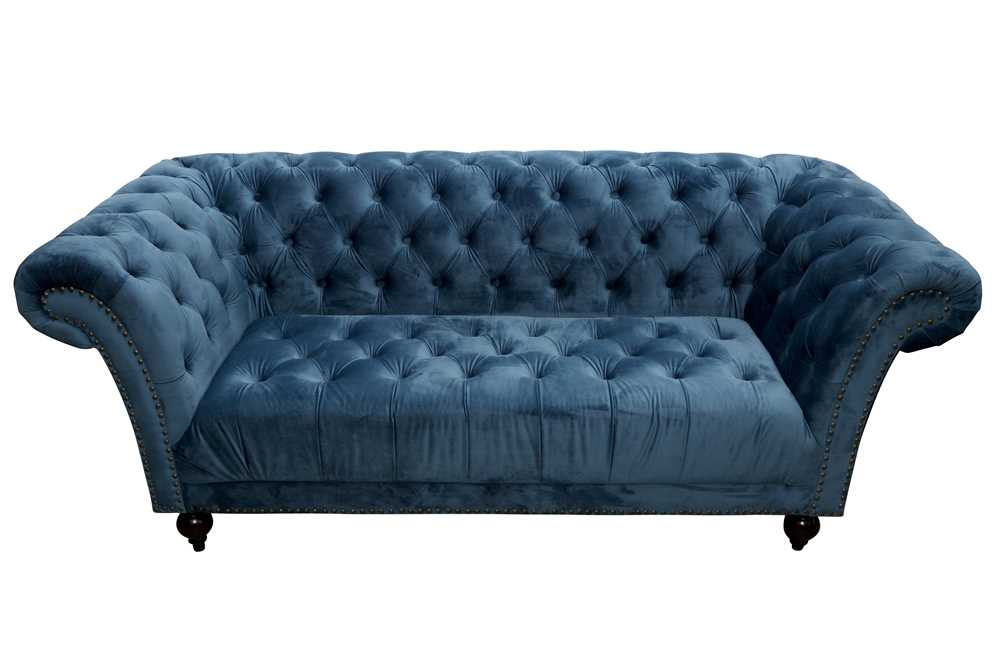 Lot 32 - A CHESTERFIELD SOFA UPHOLSTERED IN BLUE VELOUR FABRIC, 21ST CENTURY
