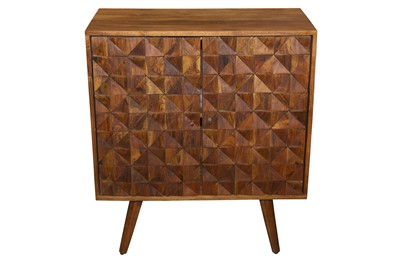 Lot 18 - A CONTEMPORARY ACACIA WOOD SIDE CABINET