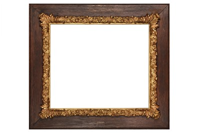 Lot 190 - AN ENGLISH 19TH CENTURY OAK AND GILDED COMPOSITION FRAME