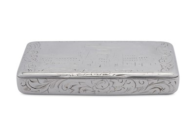 Lot 24 - A late 19th century French 800 standard silver 'castle top' snuff box, Paris circa 1870 by Alfred-Charles Coignet (reg. 18th May 1865 biff. 30th Oct 1889)