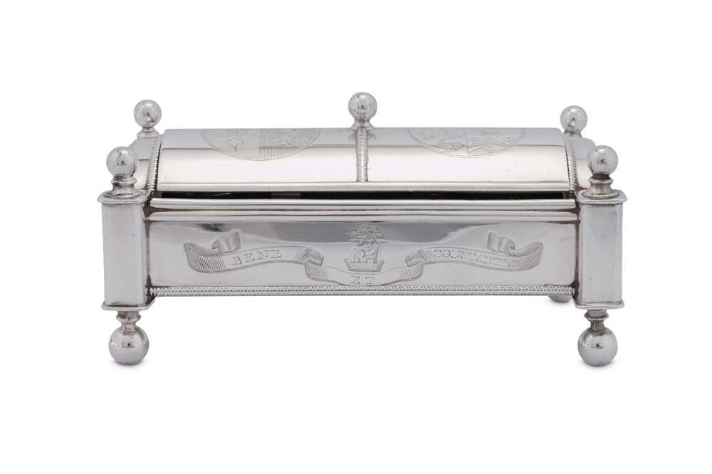 Lot 493 - A George III sterling silver ladies inkstand or standish, Sheffield 1809 by Thomas Blagden and Co