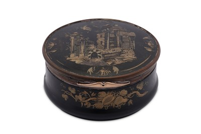 Lot 31 - An early 18th century George I unmarked gold mounted horn and tortoiseshell snuff box, England circa 1720