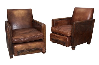 Lot 35 - A PAIR OF ART DECO CLUB ARMCHAIRS