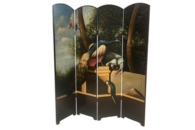 Lot 2 - AN ITALIAN FOUR FOLD SCREEN, 20TH CENTURY