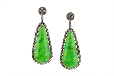 Lot 19 - A pair of treated green turquoise and diamond earrings