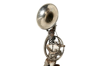 Lot 88 - A TAXIDERMY ZEBRA PLAYING A SOUSAPHONE BY ANDRE  ROBOLOBAVICH