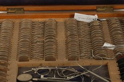 Lot 5 - A SET OF OPTICIAN LENSES FROM THE LATE 19TH CENTURY TOGETHER WITH OTHER MEDICAL EQUIPMENT