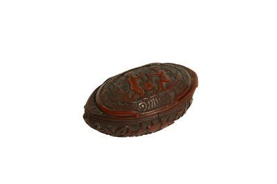 Lot 43 - A RARE 18TH CENTURY COQUILLA NUT SNUFF BOX CARVED WITH A BEAST