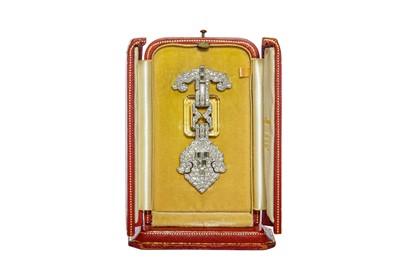 Lot 189 - Cartier | An Art Deco rock crystal and diamond lapel brooch, circa 1925