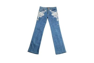 Lot 94 - Roberto Cavalli Blue Denim Embellished Jeans - Size XS