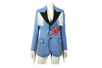 Lot 92 - Gucci Powder Blue Heart Applique Fringed Jacket - Size 38
