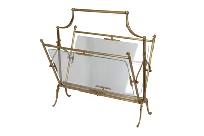 Lot 17 - A FRENCH MAISON JANSEN STYLE BRASS MAGAZINE RACK