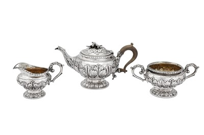 Lot 491 - A George III sterling silver three-piece tea service, London 1817 by Joseph Biggs or John Booth