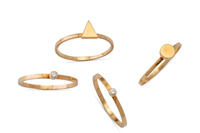 Lot 1 - A gold and diamond ring tower, by Wendy Ramshaw, 1986