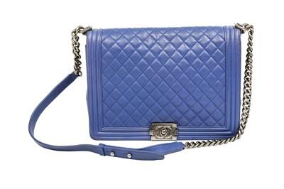Lot 88 - Chanel Blue Large Boy Bag