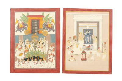 Lot 2 - TWO SCENES OF WORSHIP TO THE MURTI OF SHRINATHJI