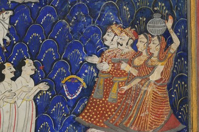 Lot 4 - THE PUSHTIMARG SECT FOUNDER, VALLABHACHARYA, DISCOVERING SHRINATHJI AT THE GOVARDHAN HILL