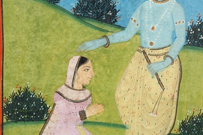 Lot 10 - TWO SCENES: RADHA AND KRISHNA, AND KRISHNA WITH THE SAKHI