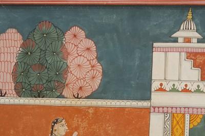 Lot 12 - AN ILLUSTRATION TO A BHAGAVATA PURANA SERIES: KRISHNA IN CONVERSATION WITH A SAKHI