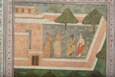 Lot 17 - AN ILLUSTRATION TO A BHAGAVATA PURANA SERIES: LORD KRISHNA AT THE TEMPLE BEING ANOINTED