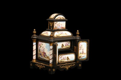 Lot 2 - A LATE 19TH CENTURY VIENNESE ENAMEL MINIATURE TABLE CABINET