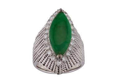 Lot 9 - A jade and diamond dress ring