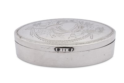 Lot 23 - An early 19th century unmarked silver snuff box, probably German date 1820