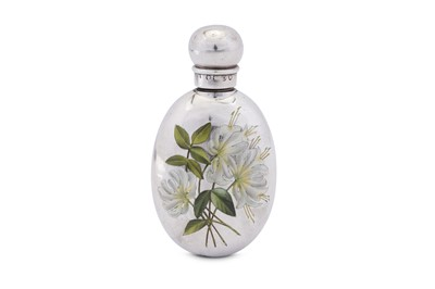 Lot 47 - A Victorian sterling silver and enamel scent bottle, London 1889 by Sampson Mordan