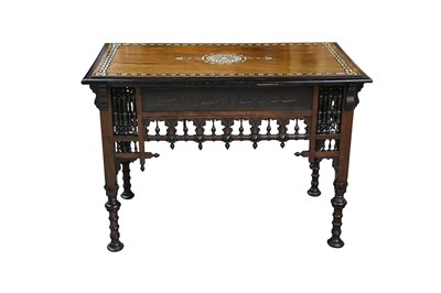 Lot 645 - λ A HARDWOOD BONE, RESIN AND MOTHER-OF-PEARL-INLAID ORIENTALIST TABLE