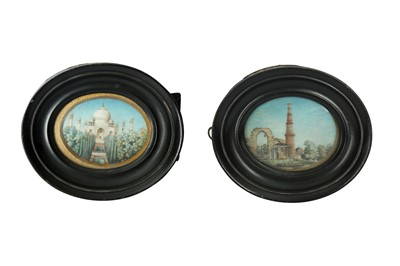 Lot 223 - λ TWO INDIAN ARCHITECTURAL MINIATURES ON IVORY