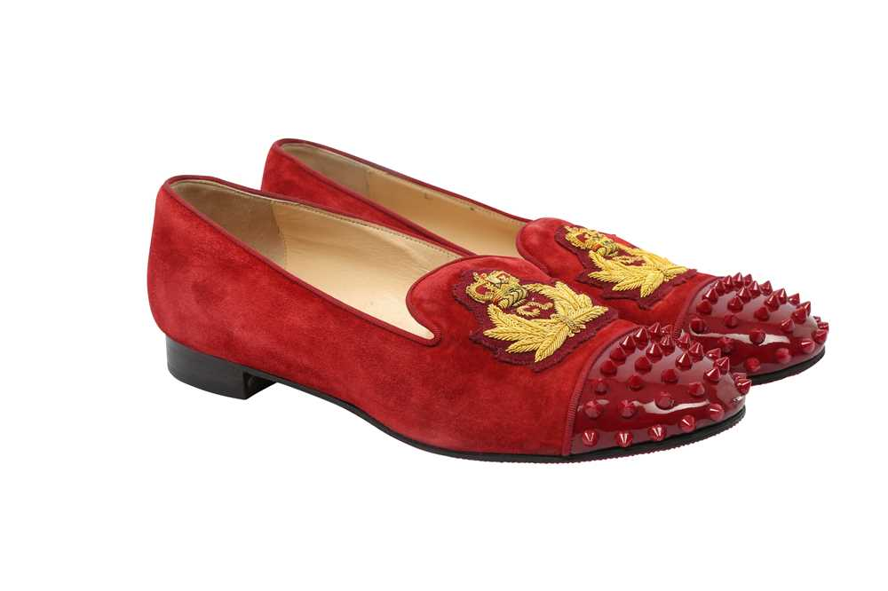 Lot 21 - Christian Louboutin Deep Red Crest Spike Loafers - Size 41