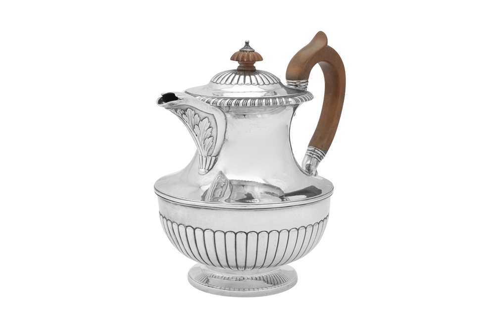 Lot 497 - A George IV sterling silver coffee pot or jug, London 1822 by Richard Sibley I