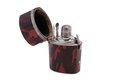 Lot 46 - A George III late 18th century unmarked silver mounted tortoiseshell scent bottle etui, circa 1770
