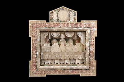 Lot 33 - A JERUSALEM MOTHER OF PEARL, ABALONE AND OLIVEWOOD DIORAMA DEPICTING THE LAST SUPPER
