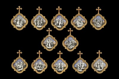 Lot 32 - A SET OF LATE 19TH CENTURY FRENCH GILT BRONZE AND PORCELAIN PANELS DEPICTING THE STATIONS OF THE CROSS