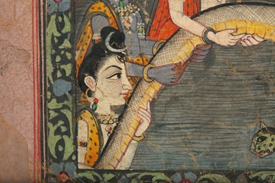Lot 20 - AN ILLUSTRATION TO A BHAGAVATA PURANA SERIES: SAMUDRA MANTHANA, THE CHURNING OF THE MILK OCEAN