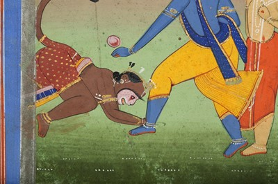 Lot 25 - AN ILLUSTRATION FROM A RAMAYANA SERIES: HANUMAN SHOWING HIS DEVOTION TO RAMA